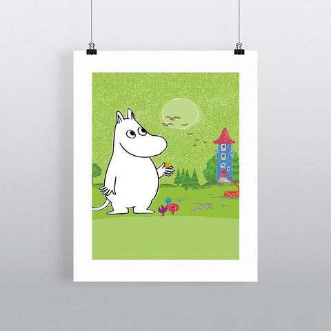 Moomintroll infront of the Moominhouse 11x14 Print