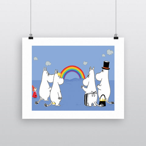 The Moomins look at a Rainbow 11x14 Print