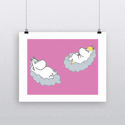 Moomintroll and Snorkmaiden relax on clouds. 11x14 Print