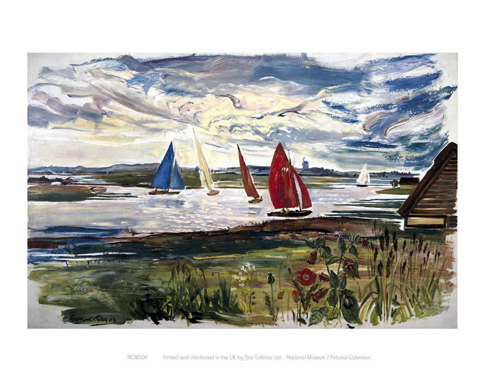 "Norfolk Sailing Boats 24"" x 32"" Matte Mounted Print"
