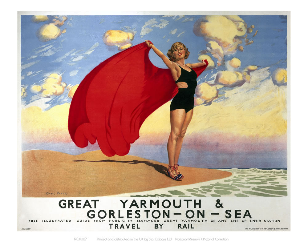 "Great Yarmouth Girl with Red Blanket 24"" x 32"" Matte Mounted Print"