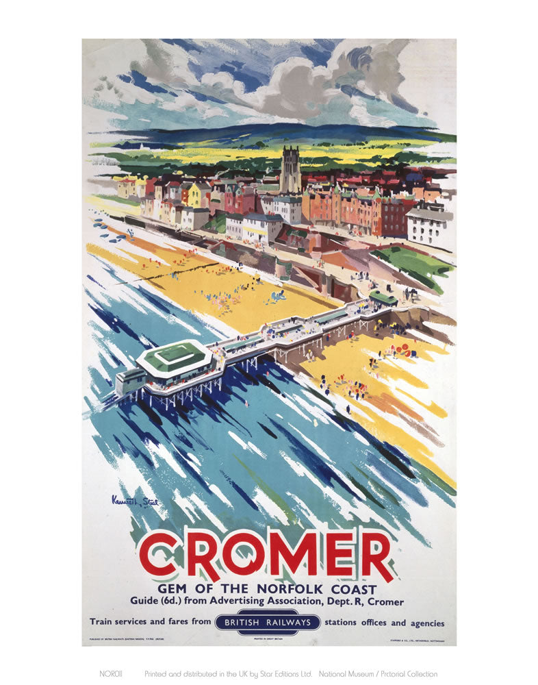 "Cromer View From Air 24"" x 32"" Matte Mounted Print"