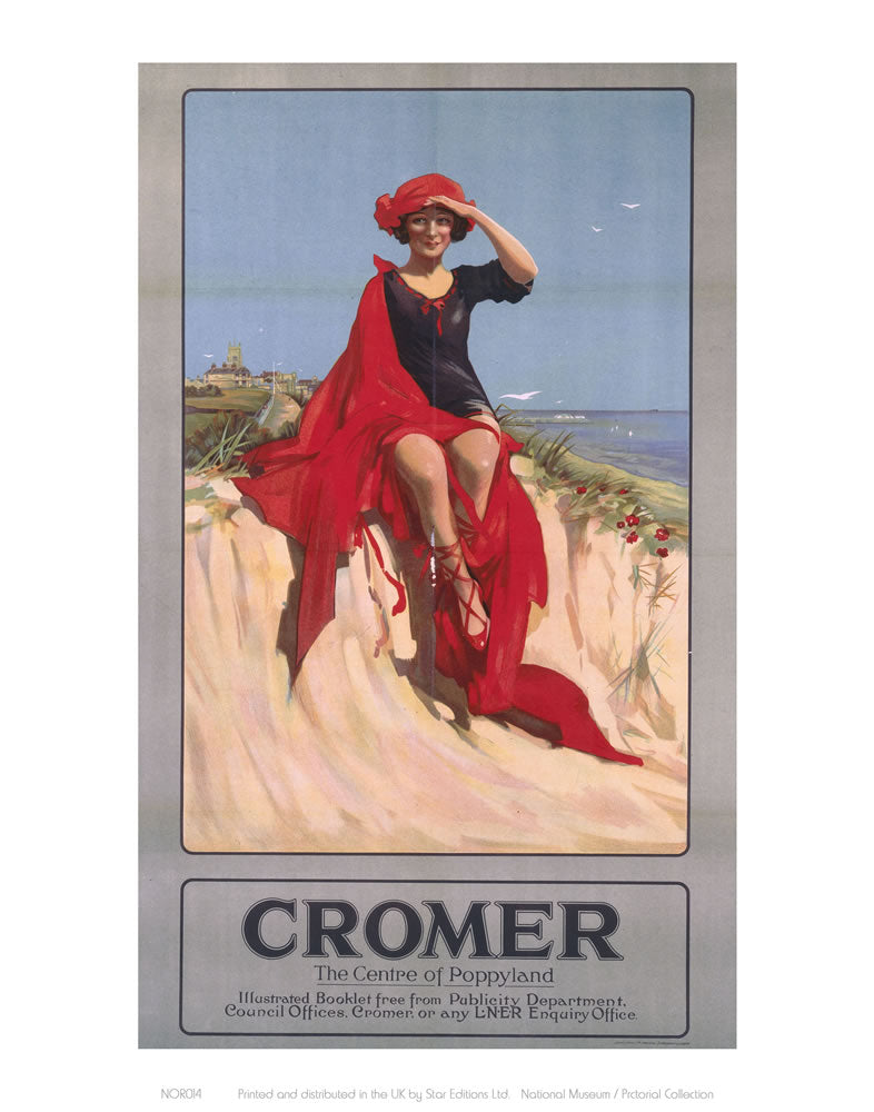 "Cromer Girl with Red Material 24"" x 32"" Matte Mounted Print"
