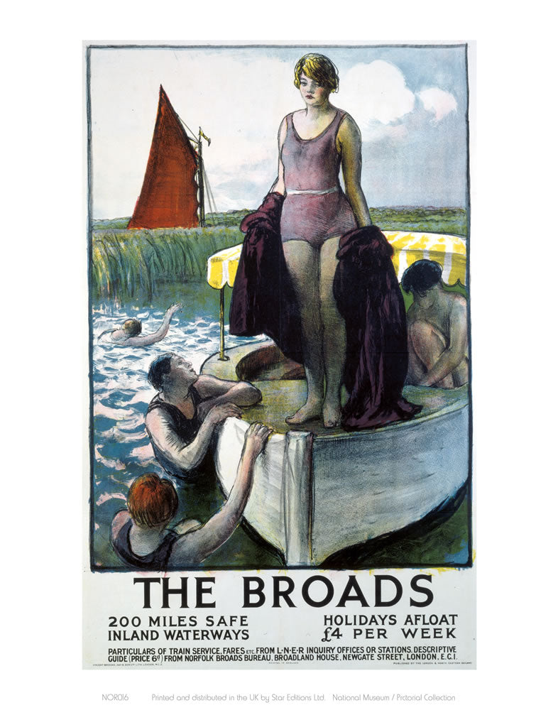 "The Broads - Girl standing on boat 24"" x 32"" Matte Mounted Print"