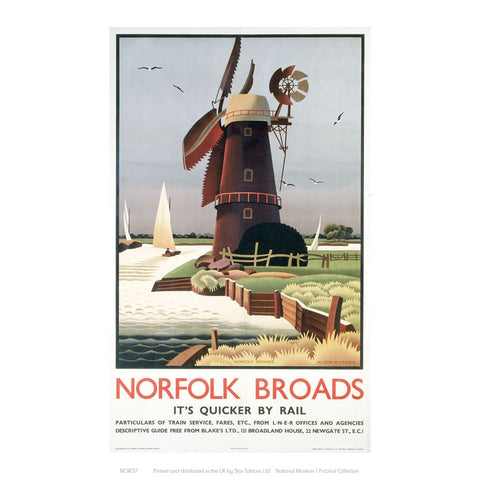 "Norfolk Broads Windmill 24"" x 32"" Matte Mounted Print"