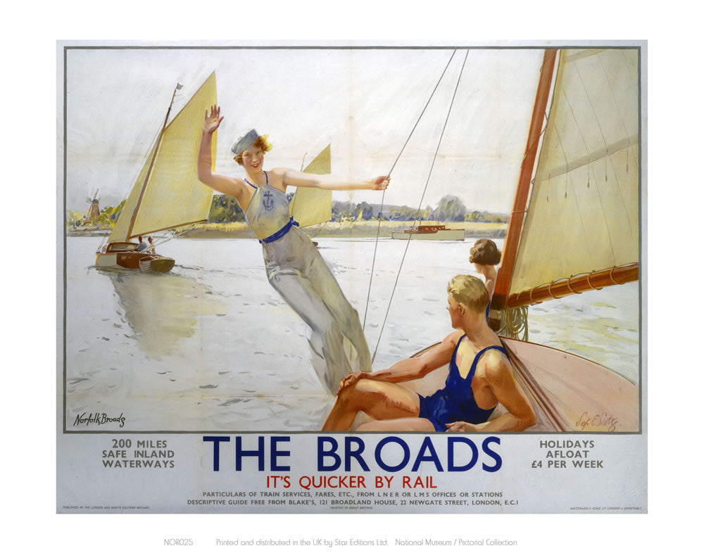 "The Broads Girl Waiving from Boat 24"" x 32"" Matte Mounted Print"