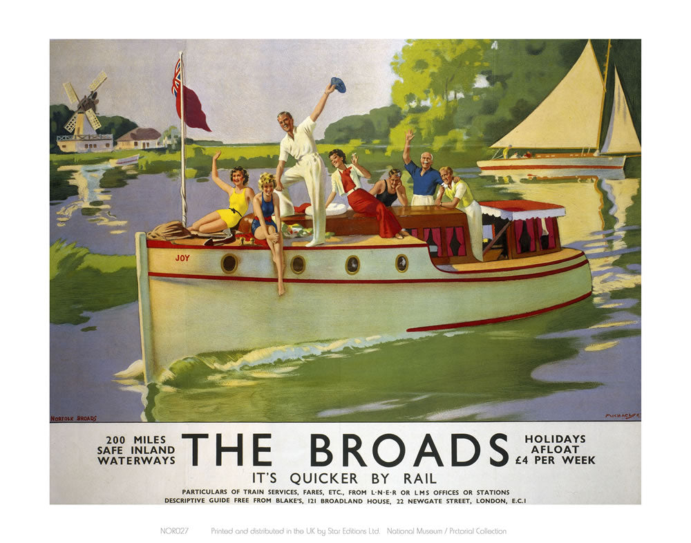 "Broads People Waiving from Boat 24"" x 32"" Matte Mounted Print"