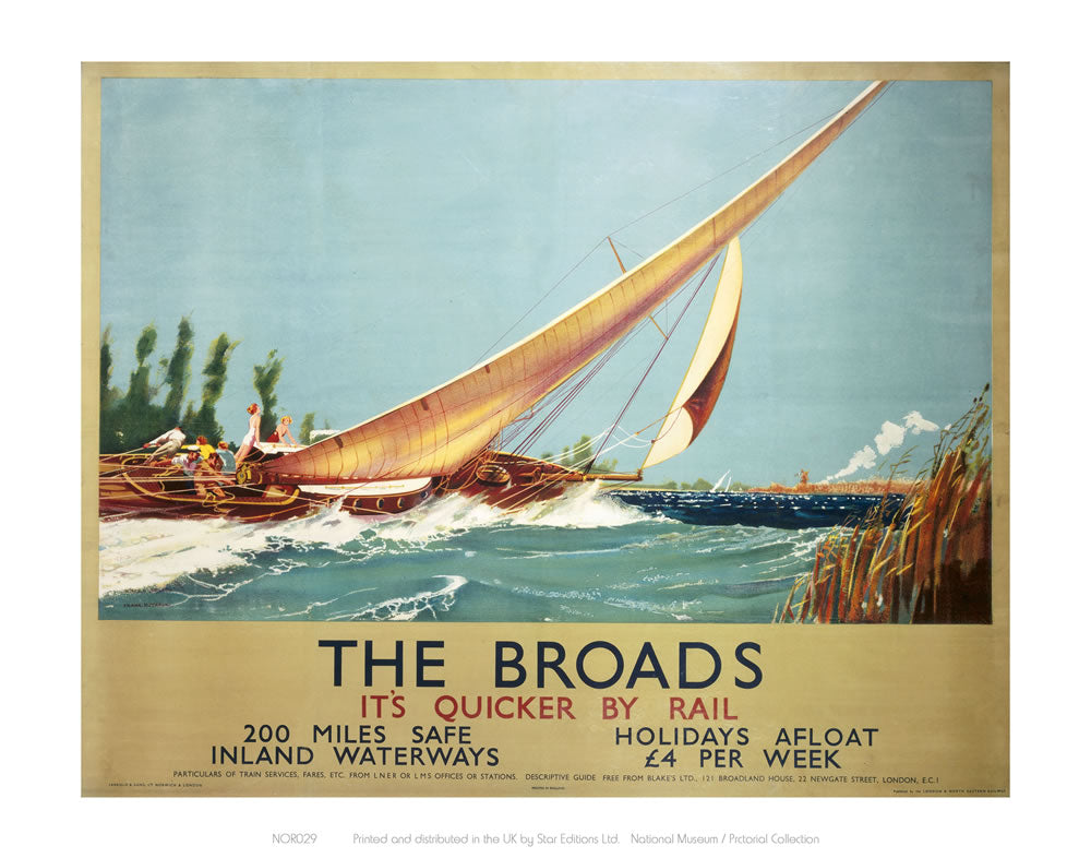 "Broads Boat Blowing to Side 24"" x 32"" Matte Mounted Print"