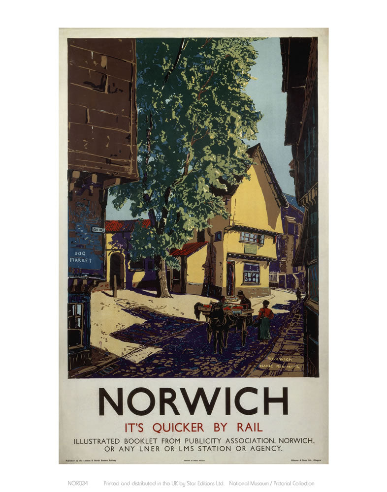 "Norwich Horse and Cart 24"" x 32"" Matte Mounted Print"
