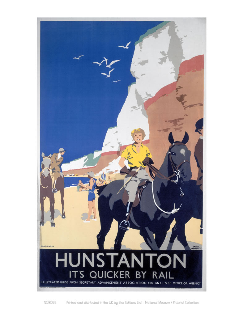 "Hunstanton Woman on Horse 24"" x 32"" Matte Mounted Print"