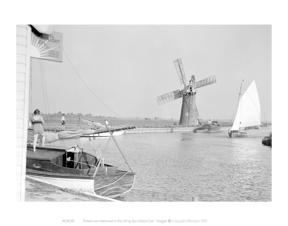 "B&W Photo of Broads (boat in foreground) 24"" x 32"" Matte Mounted Print"
