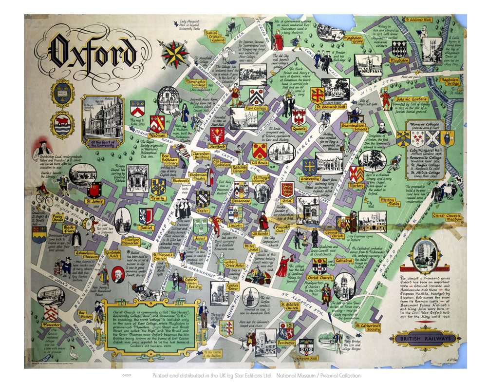 "Oxford Map 24"" x 32"" Matte Mounted Print"