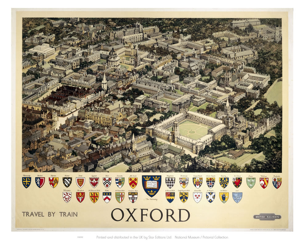 "Oxford View from Air 24"" x 32"" Matte Mounted Print"