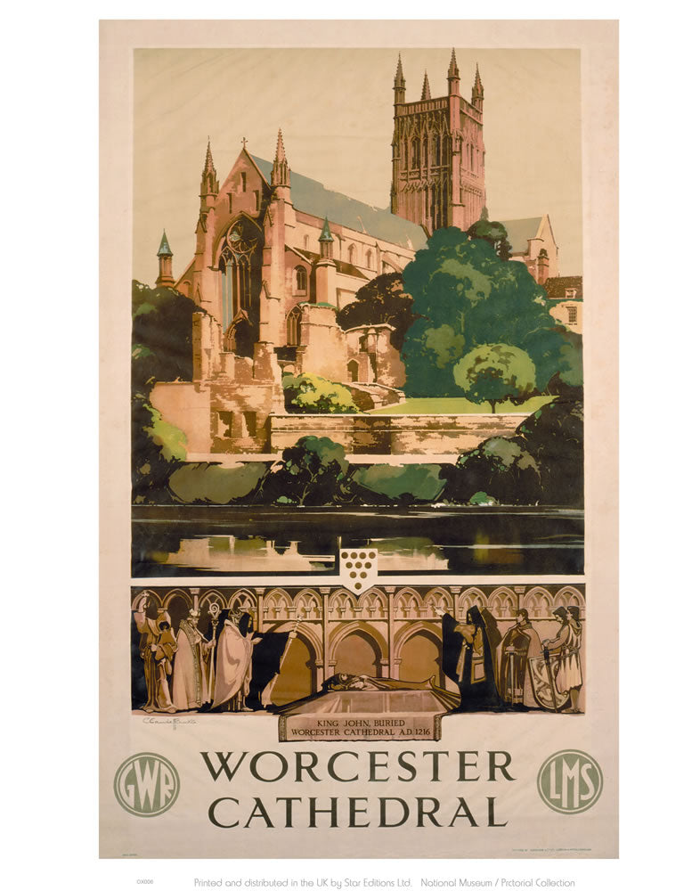 "Worchester Cathedral 24"" x 32"" Matte Mounted Print"