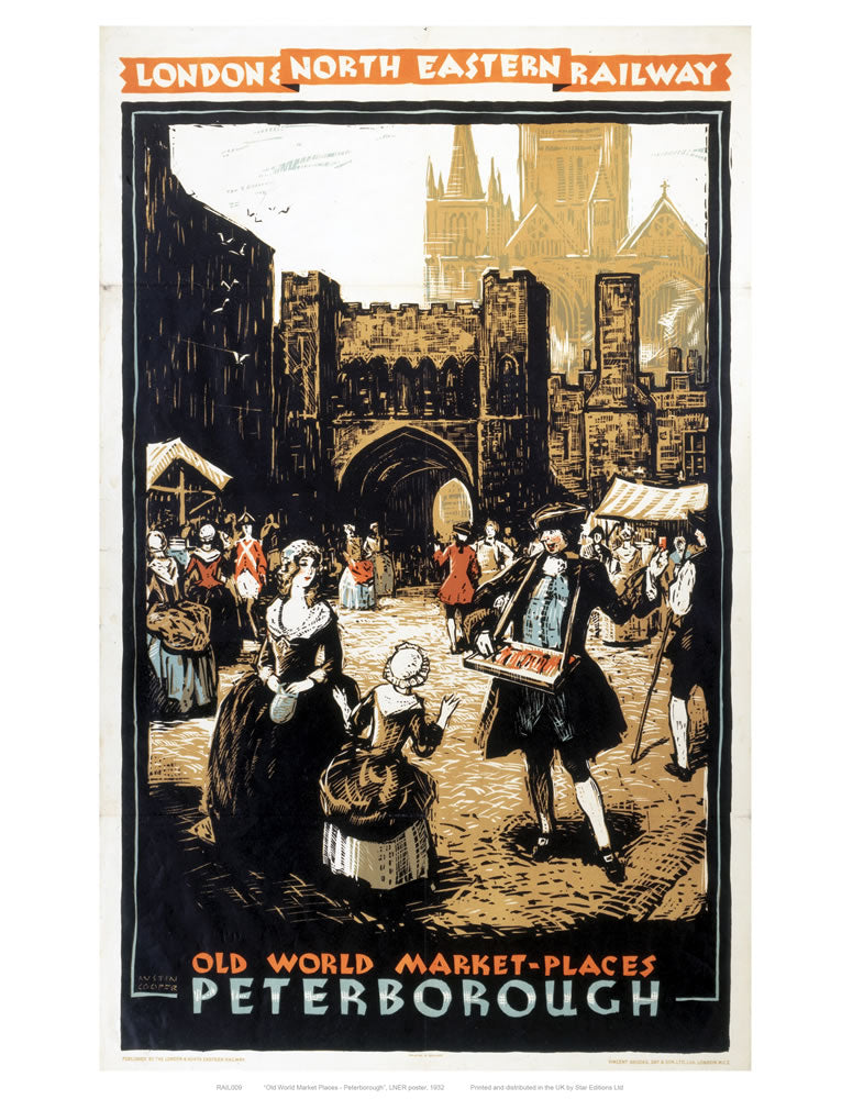 "Old World Market Places Peterborough 24"" x 32"" Matte Mounted Print"