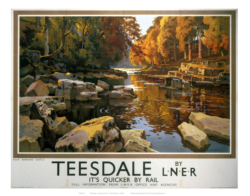 "Teesdale from Rocks on River 24"" x 32"" Matte Mounted Print"