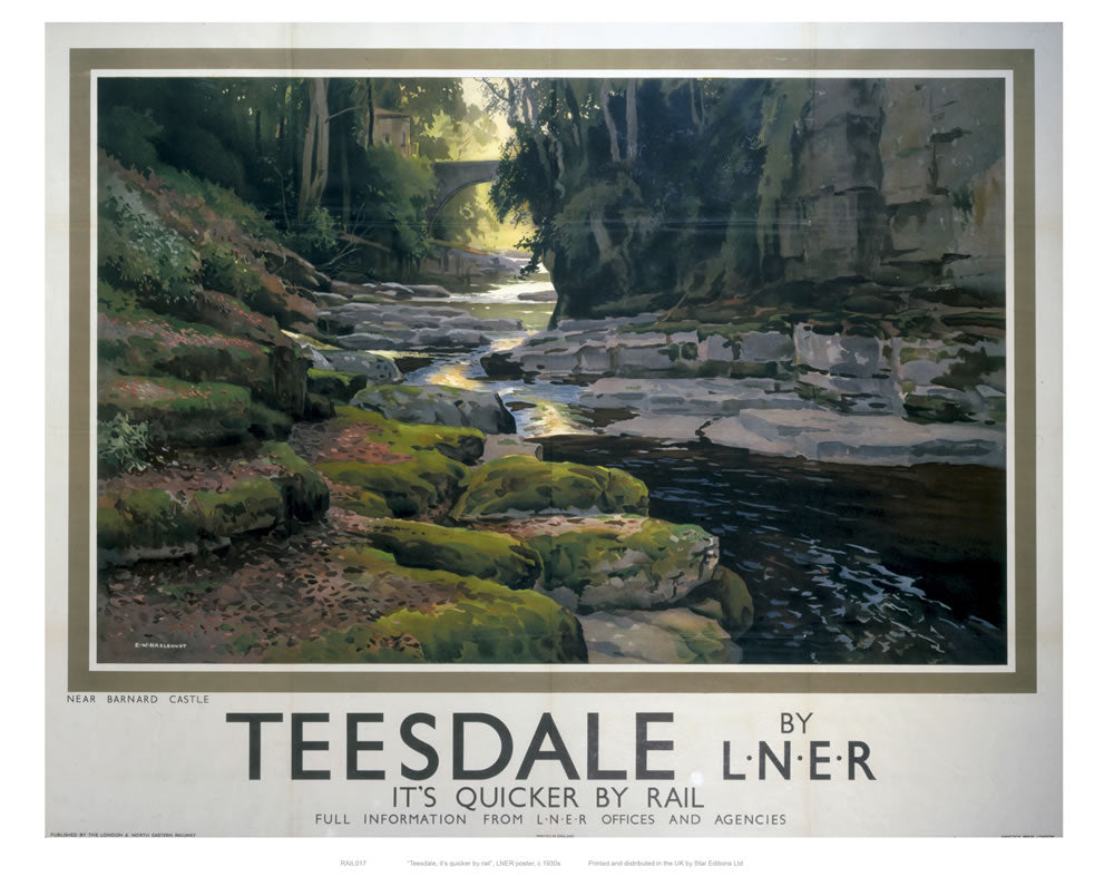 "Teesdale with Bridge 24"" x 32"" Matte Mounted Print"