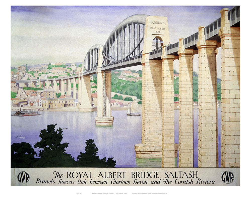 "The Royal Albert Bridge Saltash 24"" x 32"" Matte Mounted Print"