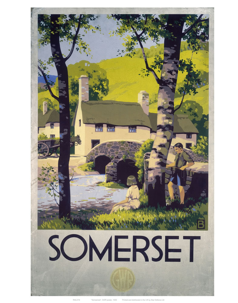"Somerset Boy and Girl by Bridge 24"" x 32"" Matte Mounted Print"