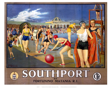 "Southport Swimming Pool 24"" x 32"" Matte Mounted Print"