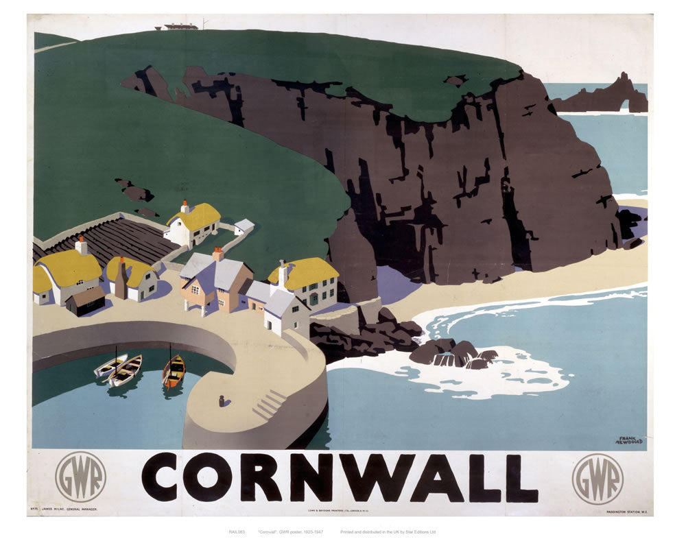 "Cornwall Cliff and Harbour 24"" x 32"" Matte Mounted Print"