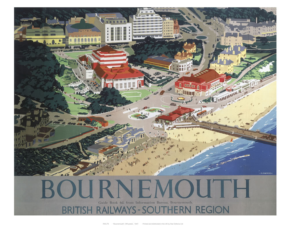 "Bournemouth from air 24"" x 32"" Matte Mounted Print"