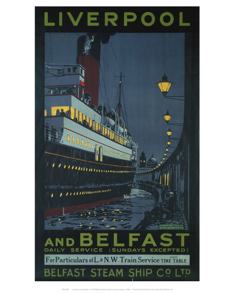 "Liverpool and Belfast 24"" x 32"" Matte Mounted Print"