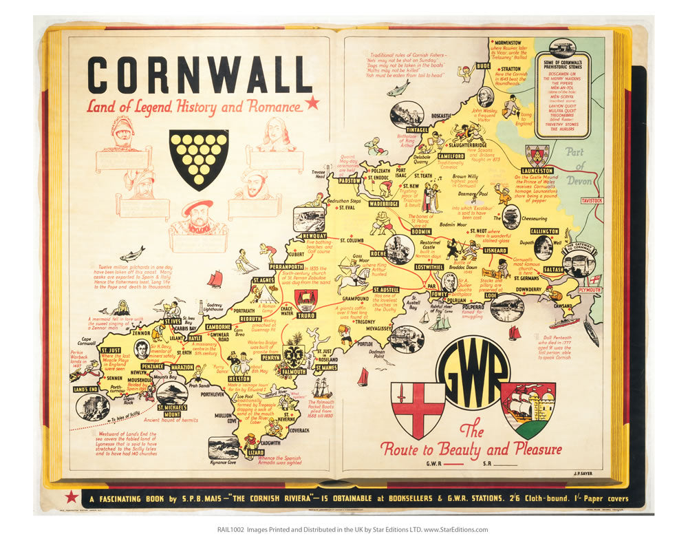 "Cornwall map 24"" x 32"" Matte Mounted Print"