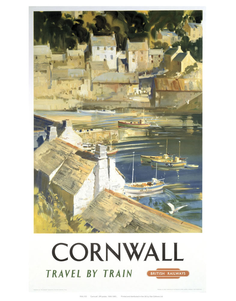 "Cornwall Harbour 24"" x 32"" Matte Mounted Print"