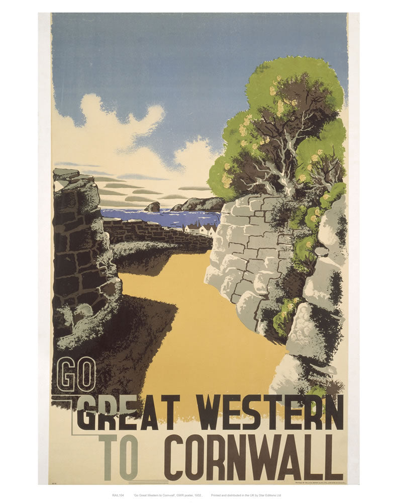 "Great western to Cornwall 24"" x 32"" Matte Mounted Print"