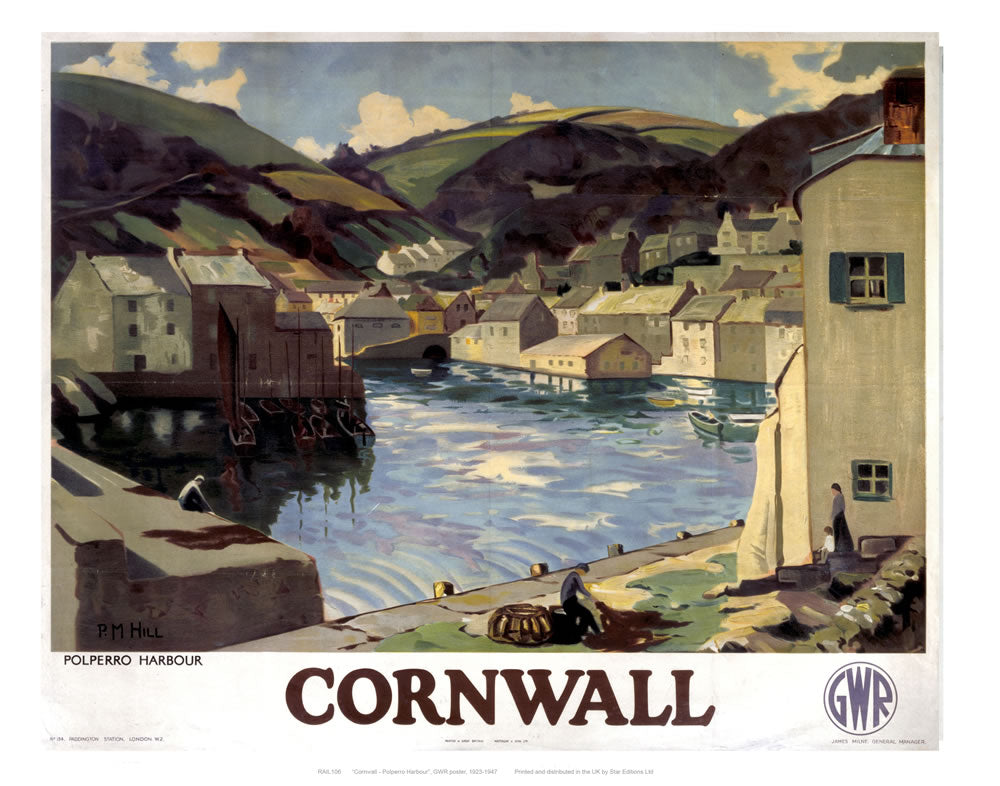 "Cornwall polperro Harbour 24"" x 32"" Matte Mounted Print"