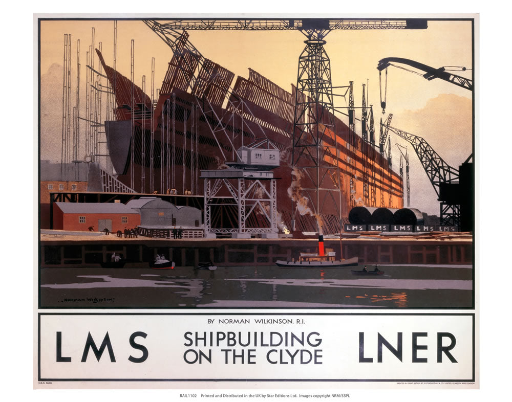 "Shipbuilding on the Clyde 24"" x 32"" Matte Mounted Print"