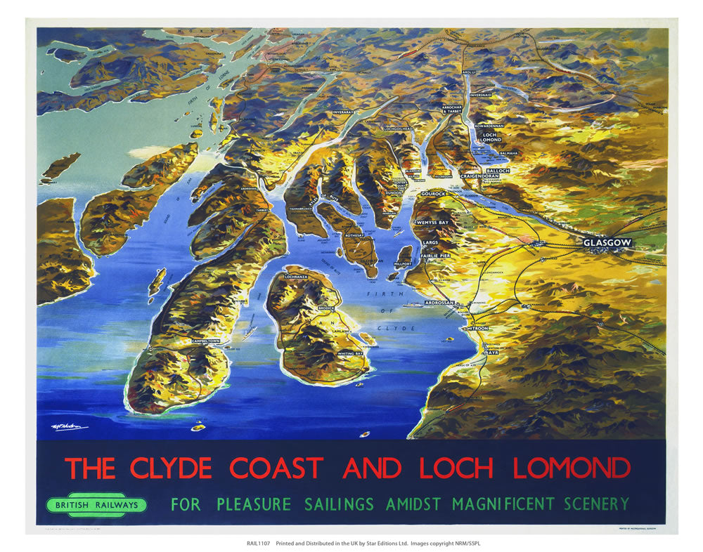 "Clyde coast and loch Lomond 24"" x 32"" Matte Mounted Print"