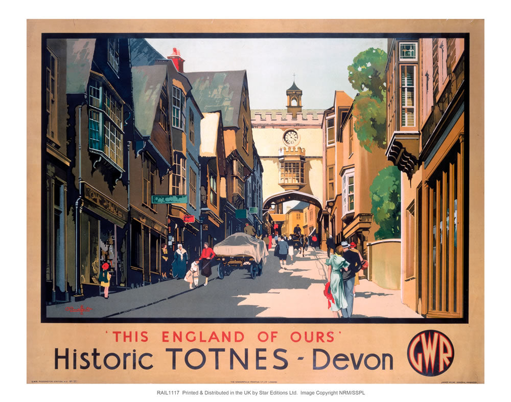 "Historic TOTNES - Devon 24"" x 32"" Matte Mounted Print"