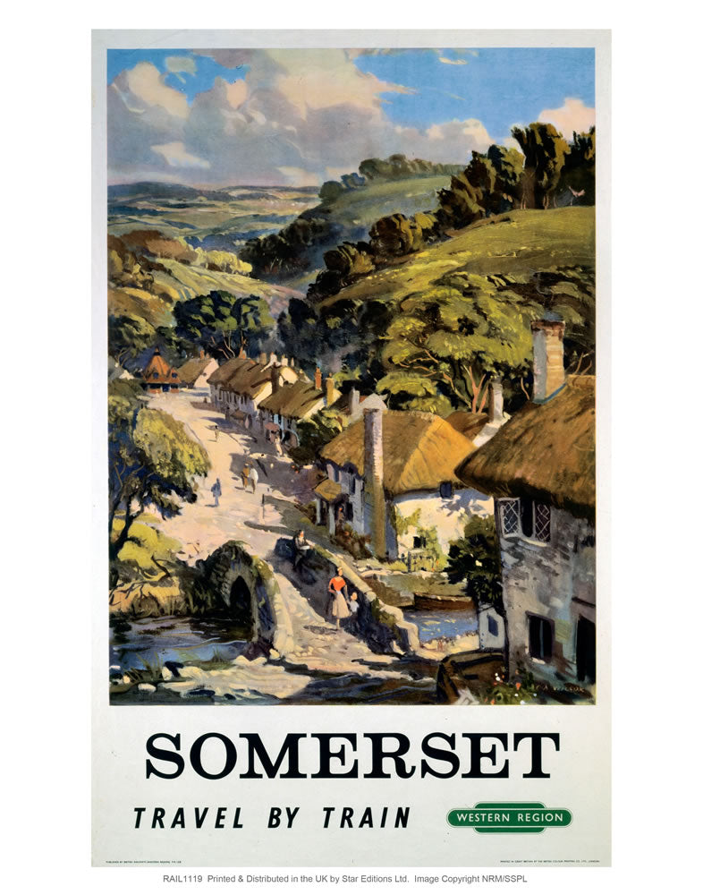 "Somerset - Travel by Train western region 24"" x 32"" Matte Mounted Print"