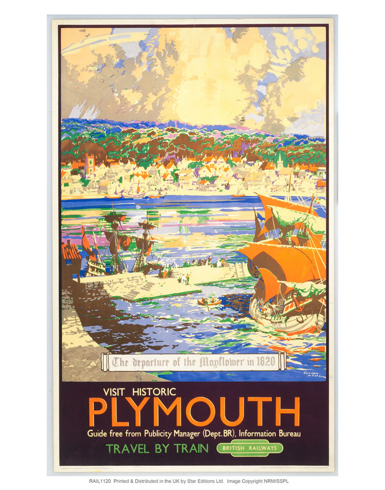 "Visit Historic Plymouth 24"" x 32"" Matte Mounted Print"