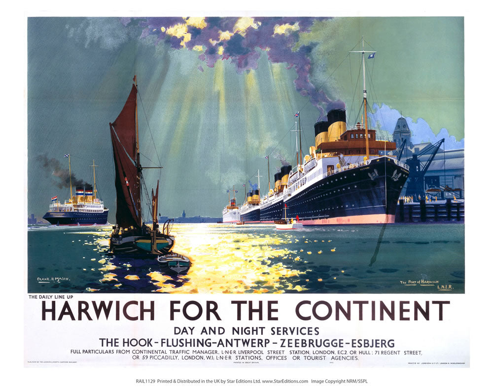 "Harwich for the continent - Daily line up 24"" x 32"" Matte Mounted Print"