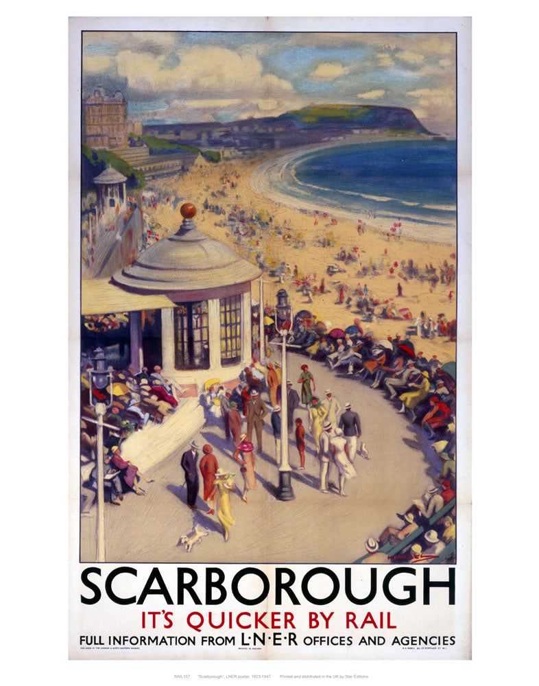 "Scarborough its quicker by rail 24"" x 32"" Matte Mounted Print"