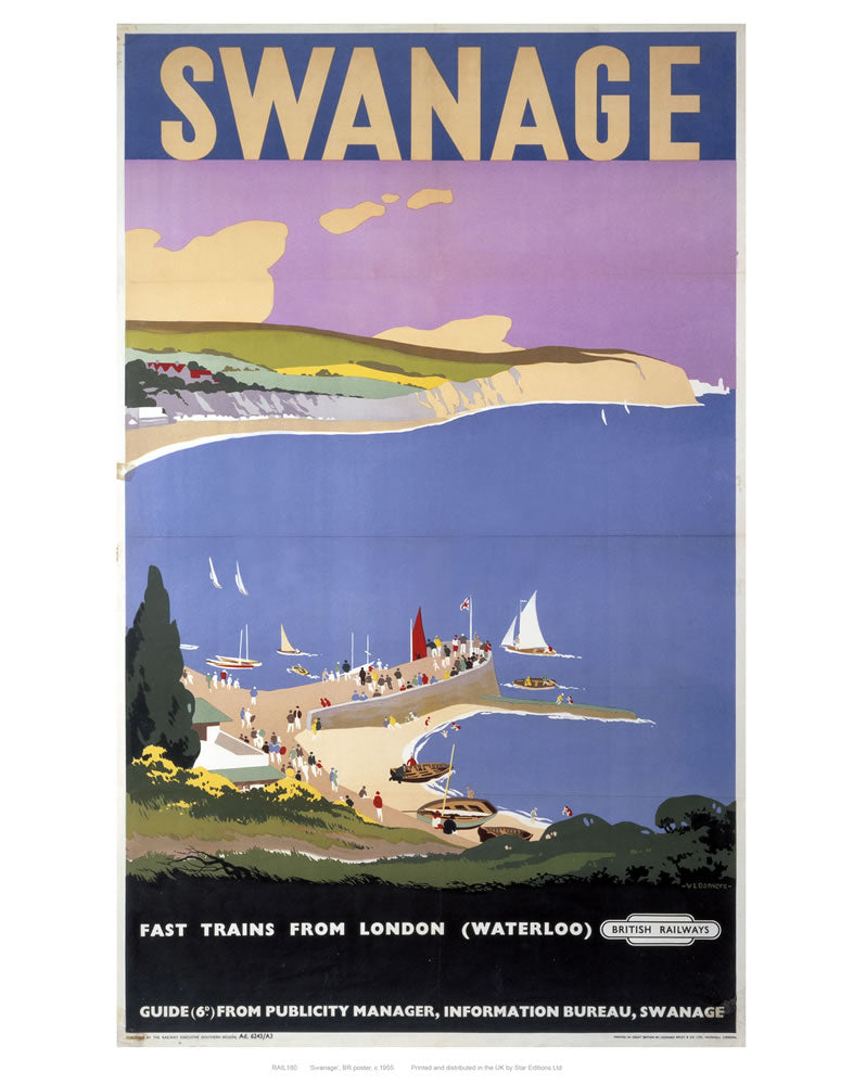 "Swanage 24"" x 32"" Matte Mounted Print"