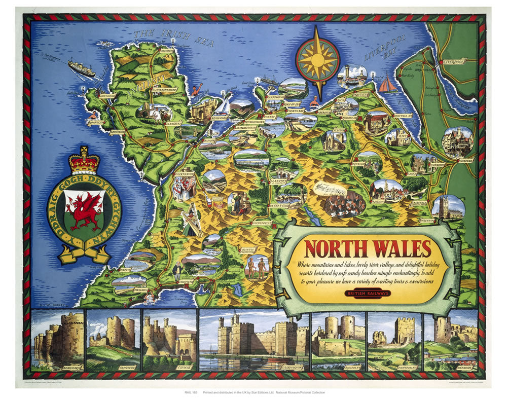 "North Wales Map 24"" x 32"" Matte Mounted Print"