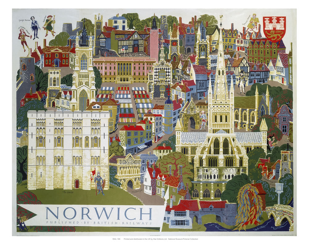 "Norwich Illustration from Air 24"" x 32"" Matte Mounted Print"