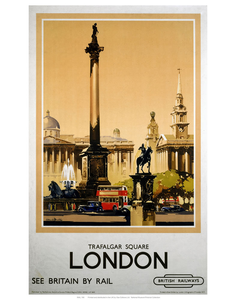 "Trafalgar Square London 24"" x 32"" Matte Mounted Print"