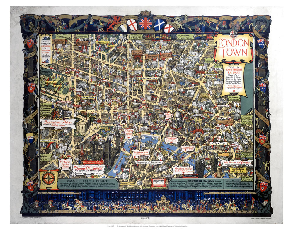 "London Town Map 24"" x 32"" Matte Mounted Print"