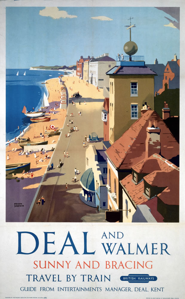 "Deal and Walmer Sunny and Bracing 24"" x 32"" Matte Mounted Print"