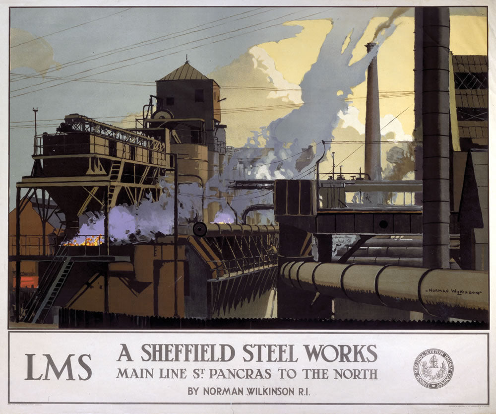 "Sheffield Steel Works LMS 24"" x 32"" Matte Mounted Print"