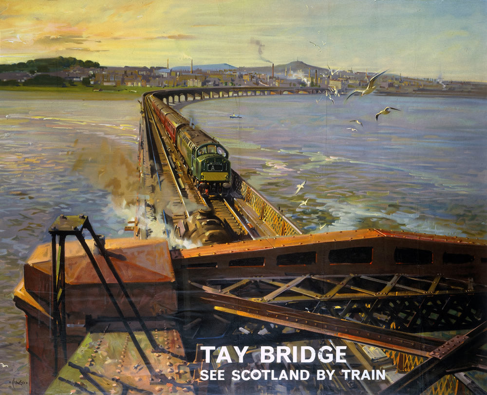 "Tay Bridge See Scotland by Train 24"" x 32"" Matte Mounted Print"