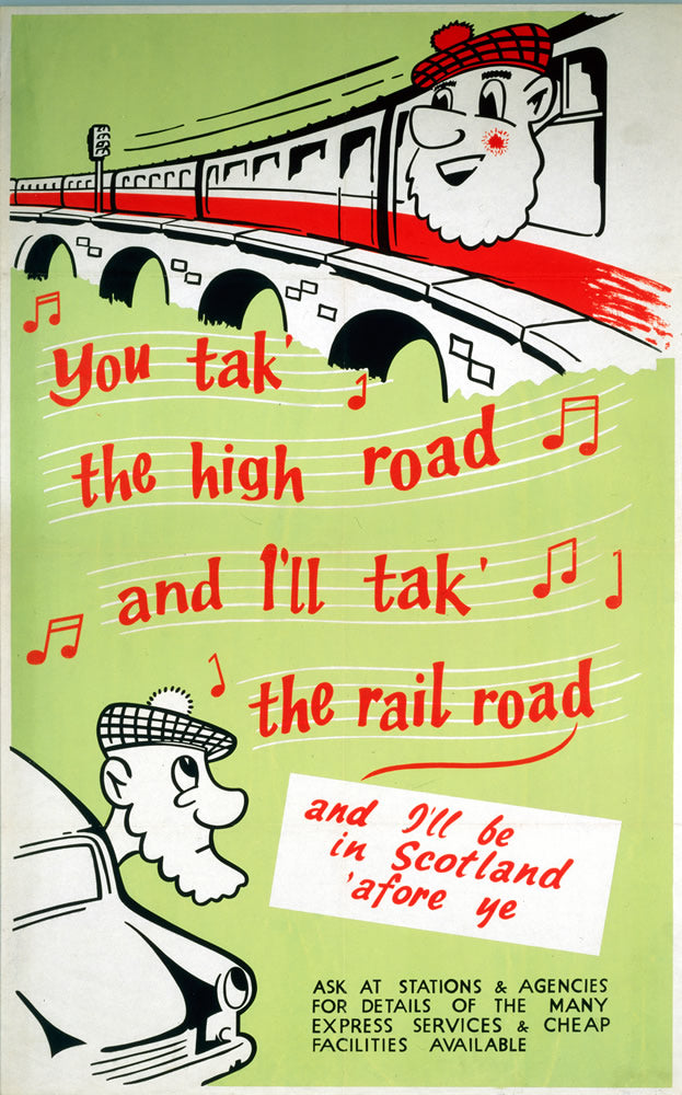 "You take the High Road - Scotland by Train 24"" x 32"" Matte Mounted Print"