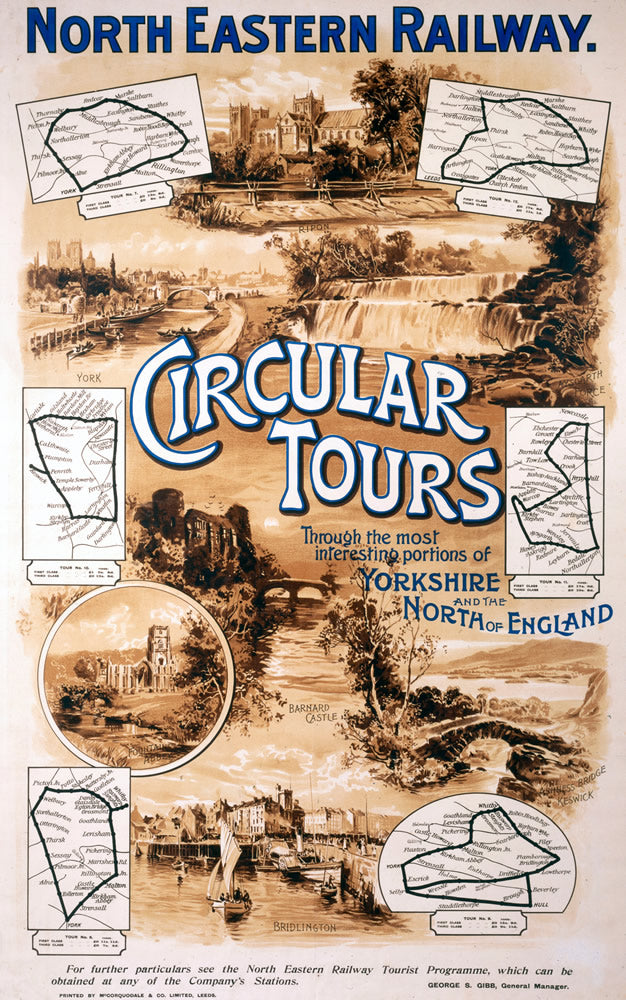 "North Eastern Railway Circular Tours 24"" x 32"" Matte Mounted Print"