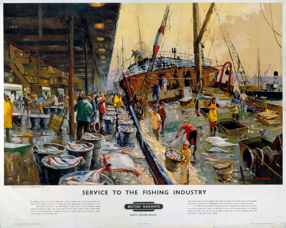 "Service to the Fishing Industry 24"" x 32"" Matte Mounted Print"