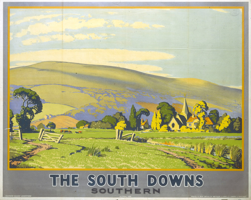 "The South Downs - Southern Railway 24"" x 32"" Matte Mounted Print"
